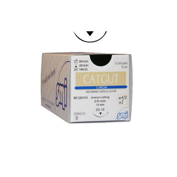 CatGut Chrom - Marrone 75 cm - 3/8c Tagliente Esterno - 12 pz