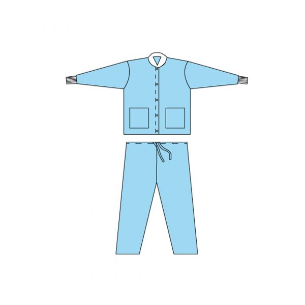 Giubbino + Pantalone non Sterile in TNT SMMS 35 g/mq Blu