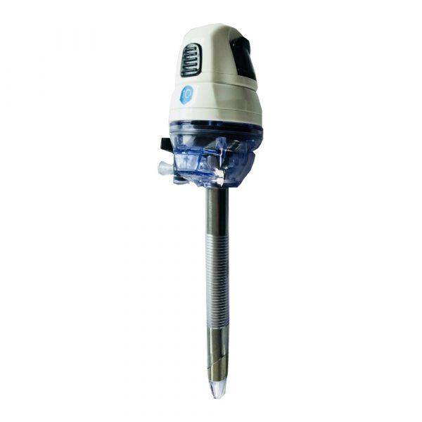 Trocar ottico monouso, senza lama con punta dilatante, cannula trasparente zigrinata angolata e smussata, doppia valvola regolabile a tenuta e rubinetto a 2 vie. Conf.5 Pz.