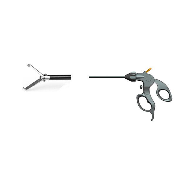 Pinza Grasper Monouso a 3 Denti Monopolare Ø 5 mm Lungh. 33 cm Asse Rotante 360° con Cremagliera ON&OFF