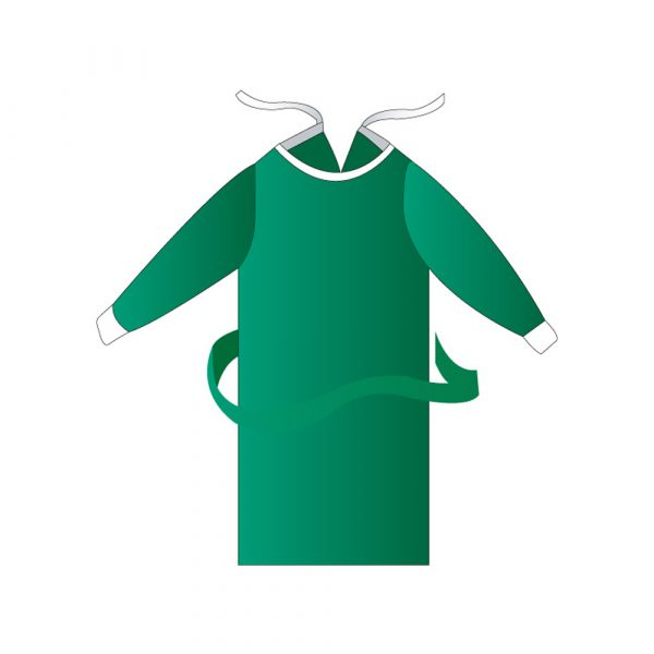 Camice Visitatore in TNT Spundbond con Polsini di Cotone Verde - Tg Unica - 10 pz