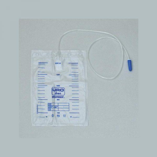 Sacca urina con valvola non sterile da 2 Lt. Lunghezza tubo 90. Confezione 10 Pz