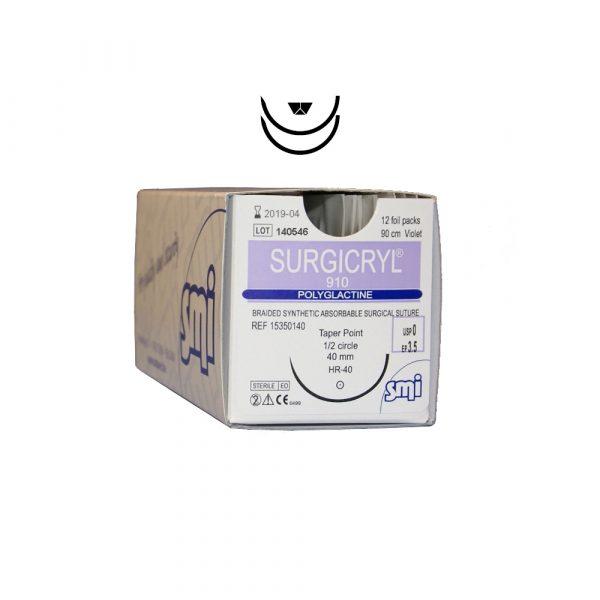 Surgicryl® 910 USP 6/0 Ep 0.7 45 cm Viola 1/2c Tagliente Spatula 2 x 8 mm 12 pz