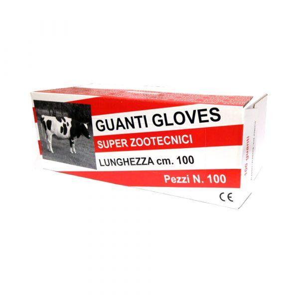 Guanti Zootecnici Gloves, elasticizzati. Lunghezza: 100 cm. Con laccetto. - Conf. 100 Pz.